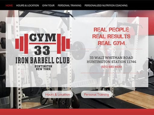 GYM 33 Website Design