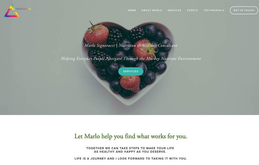 Nutrient Fit homepage design