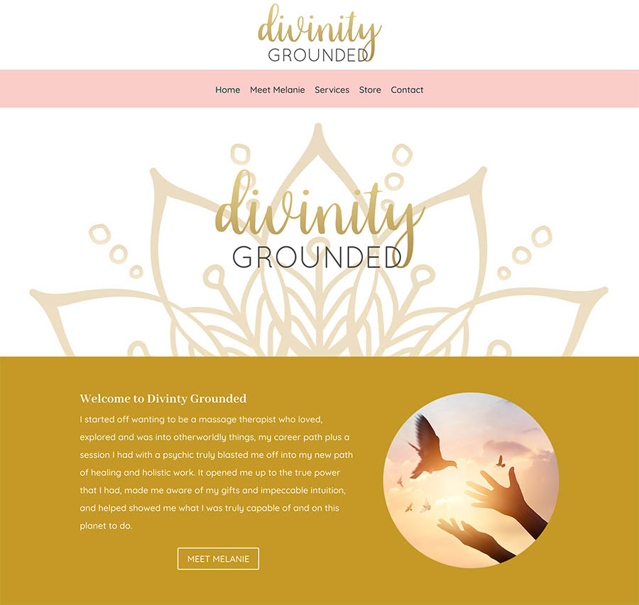 divinity grounded homepage design